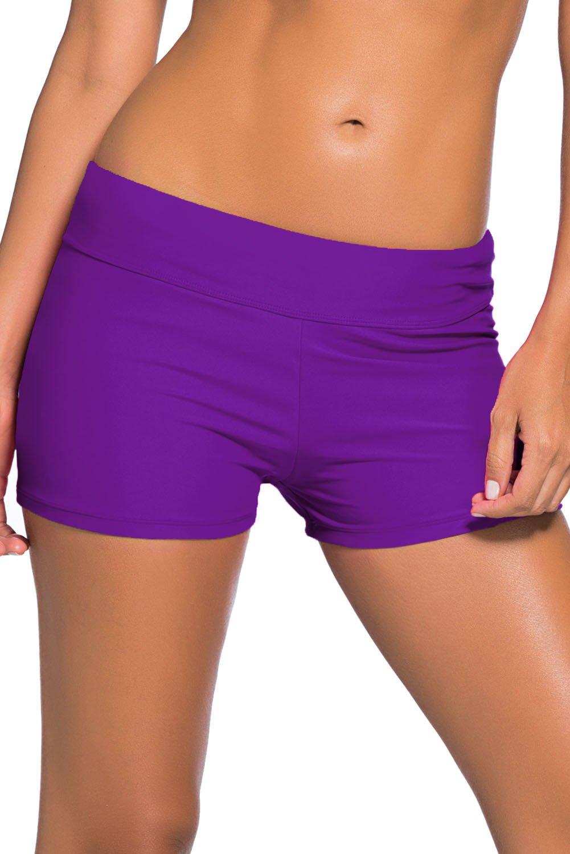 Purple Wide Waistband Swimsuit Bottom Shorts