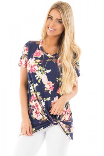 Navy Floral Short Sleeve Knot Top