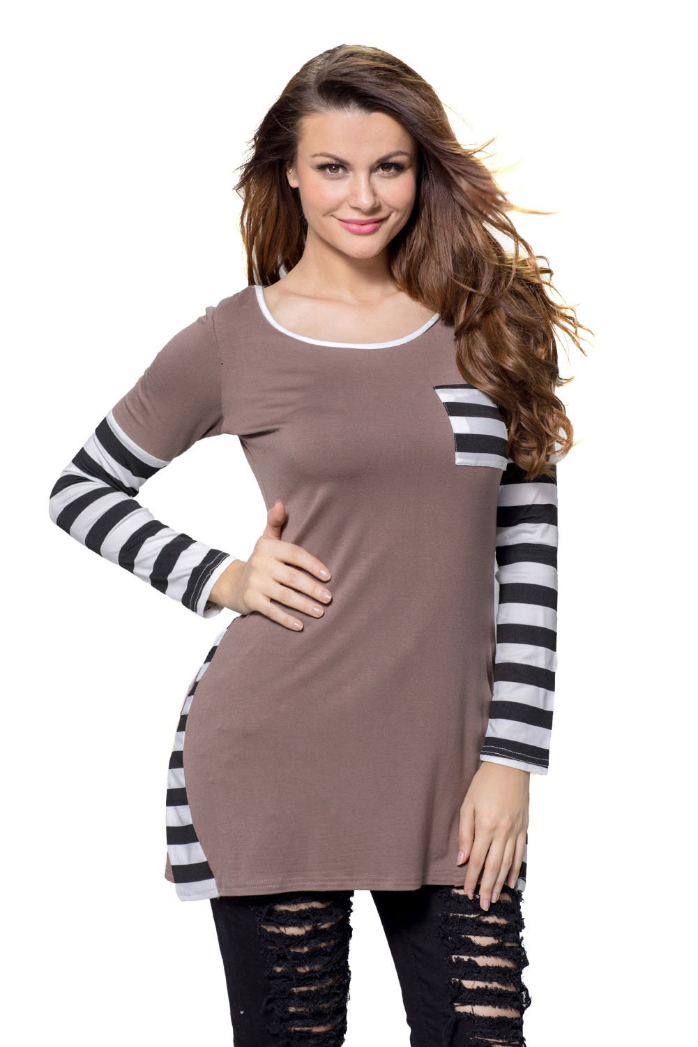 Coffee Striped Patchwork Insert Long Sleeve Blouse Top