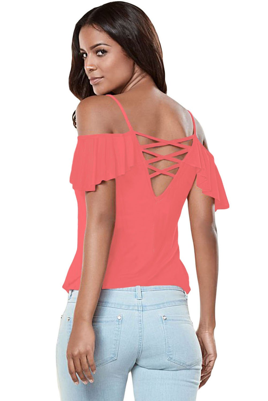 Pink Crisscross Back Ruffle Cold Shoulder Top