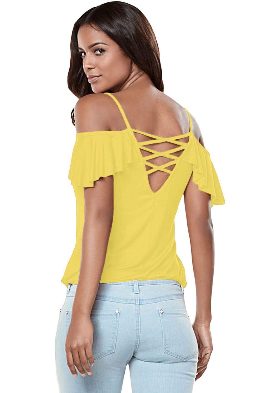 Yellow Crisscross Back Ruffle Cold Shoulder Top