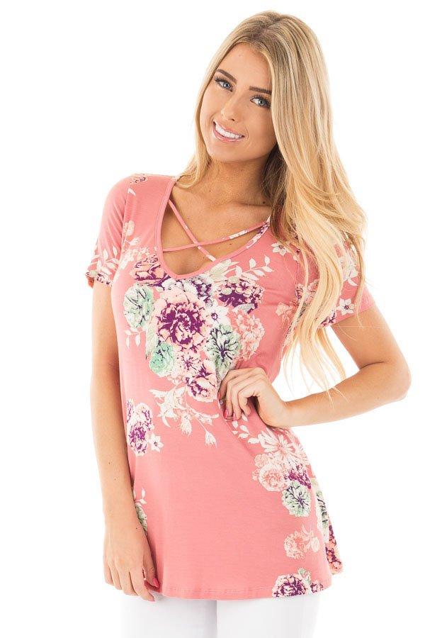 Pink Floral Crisscross Neck Detail Short Sleeve Top