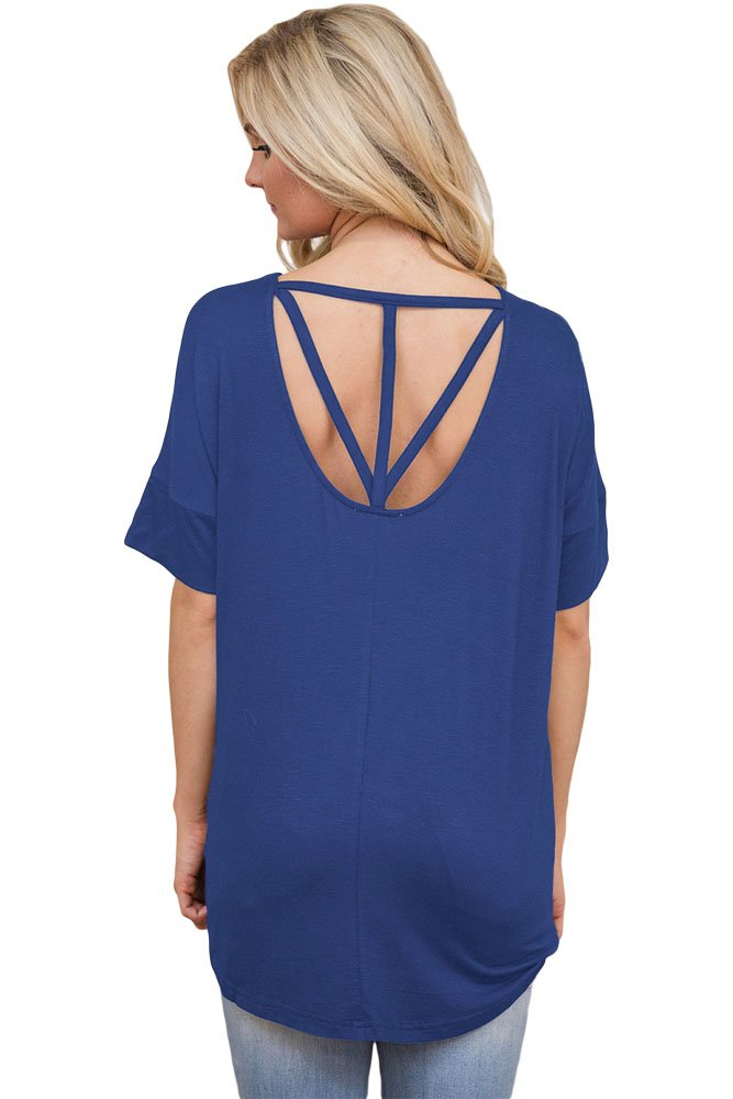 Blue Chic Relaxing Fit Pocket Front Hollow-out Blouse
