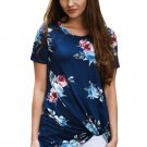 Dark Blue Floral Short Sleeve Knot Top