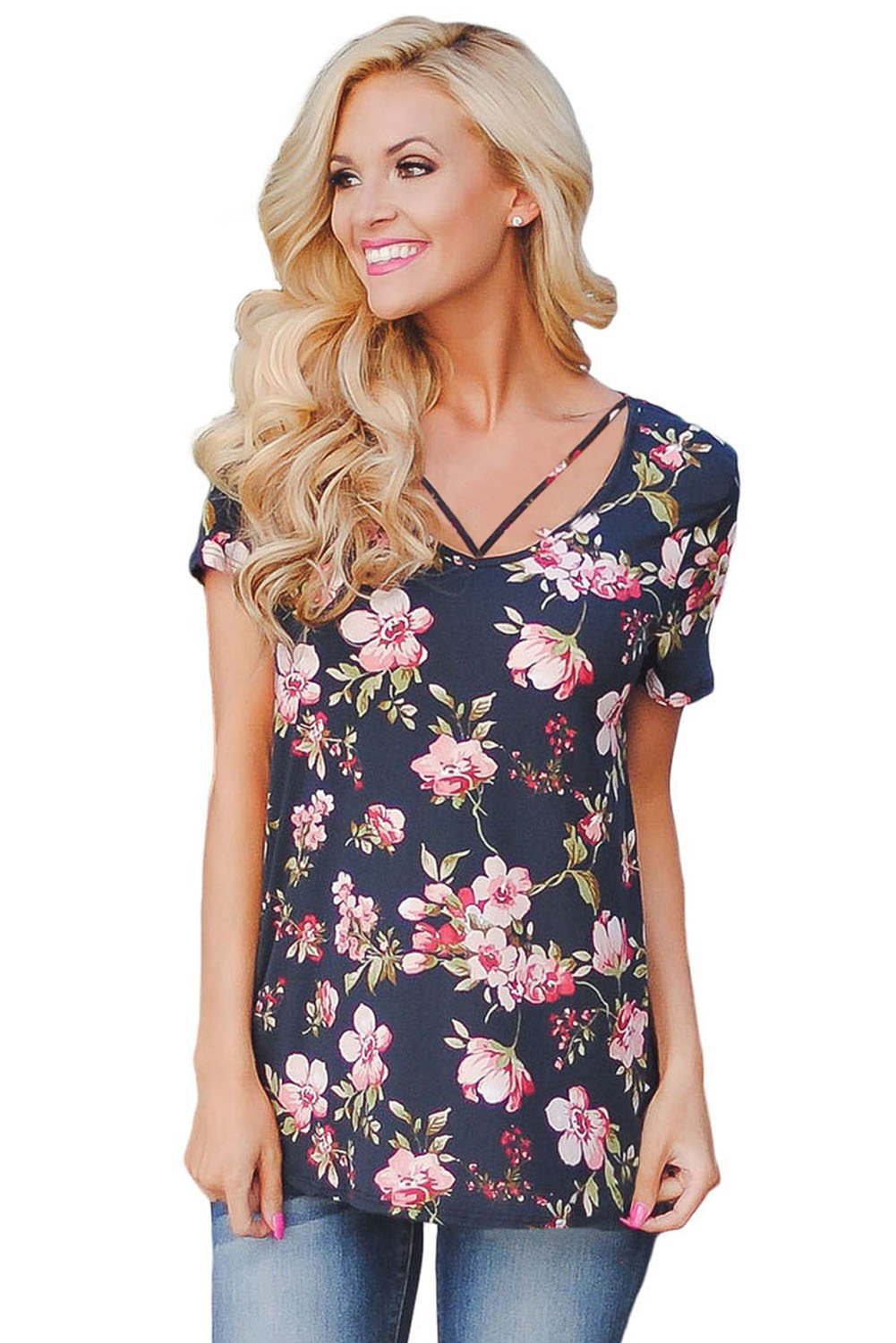 Strappy Neck Detail Navy Floral Short Sleeve T-shirt