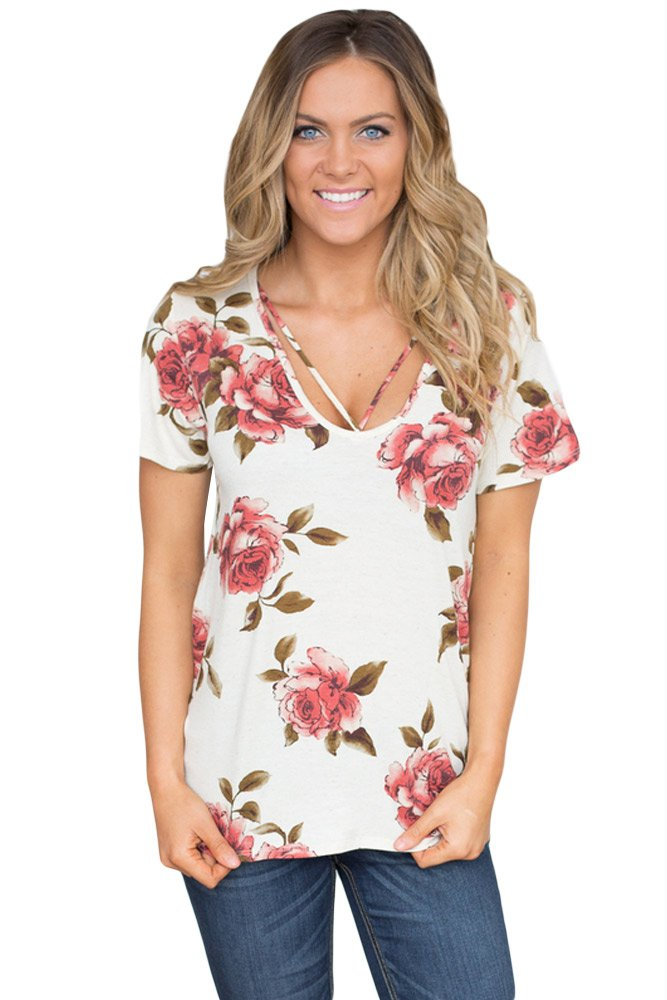 Strappy Neck Detail White Floral Short Sleeve T-shirt
