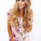 Lilac Floral V Neck Short Sleeve T-shirt