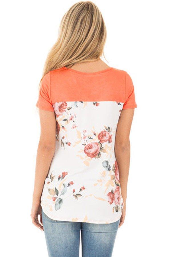 Orange Floral Print Lower Back T-shirt