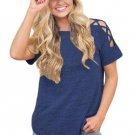 Blue Crisscross Detail Short Sleeve T-shirt