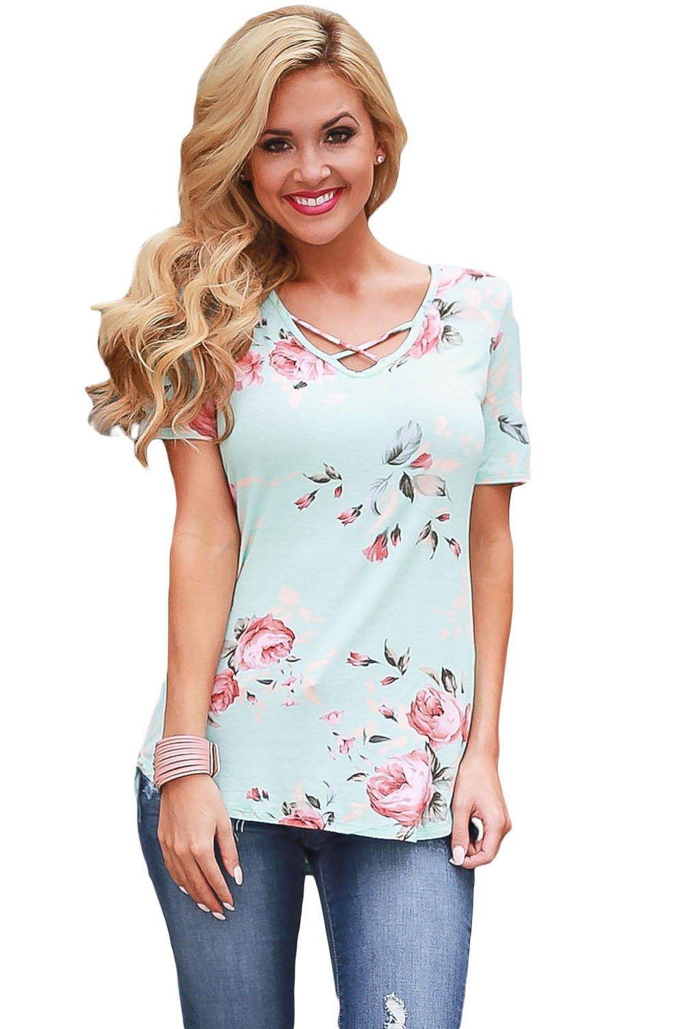 Baby Blue Super Soft Floral Tee Shirt with Crisscross Neck