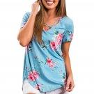 Blue Super Soft Floral Tee Shirt with Crisscross Neck
