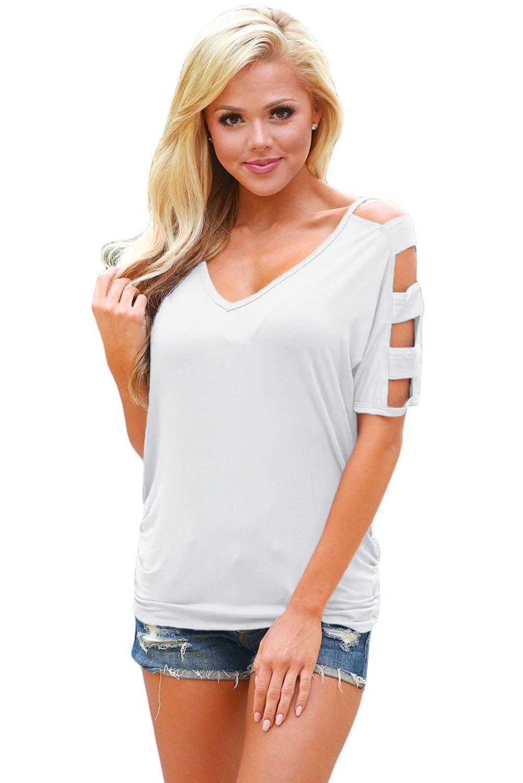 White Cold Shoulder Ruched Sides T-shirt