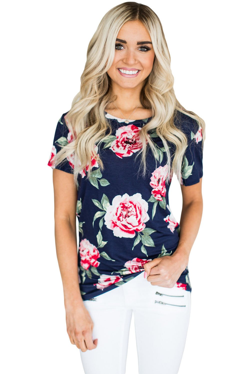 Short Sleeve Round Neck Full-blown Floral Printed T-shirt