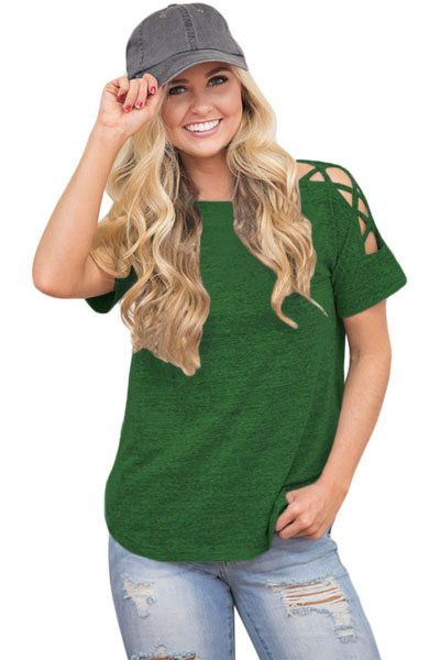 Green Crisscross Detail Short Sleeve T-shirt