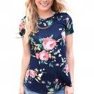 Mazarine Short Sleeve Round Neck Floral Printed T-shirt