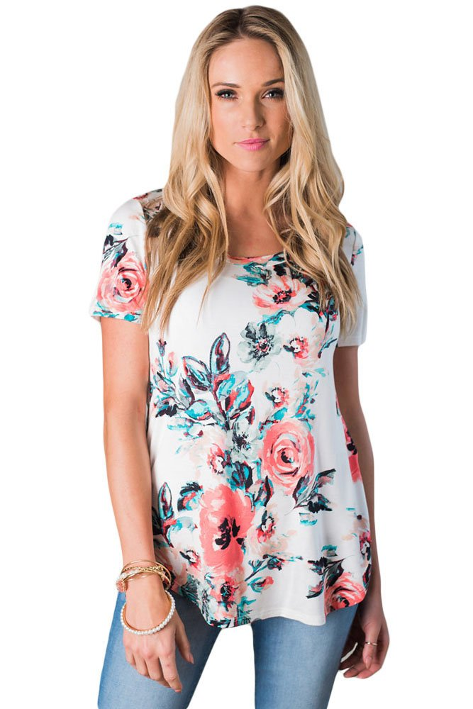 Short Sleeve Round Neck Floral Printed Womens T-shirt