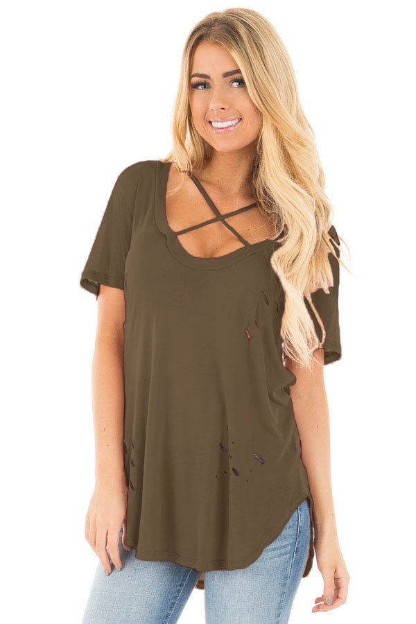 Olive Crisscross Neckline Distressed Cotton T-shirt