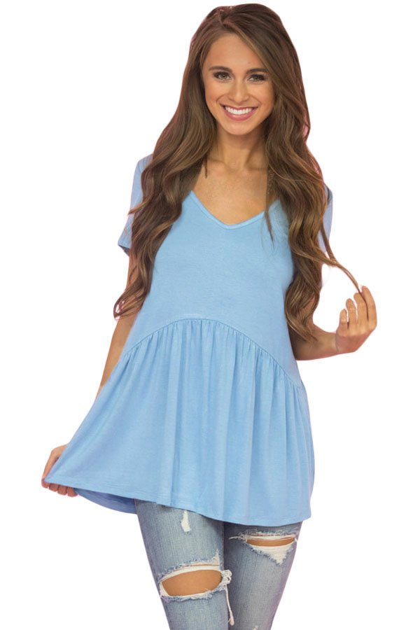 Light Blue Sweetheart Neckline Babydoll Style T-shirt
