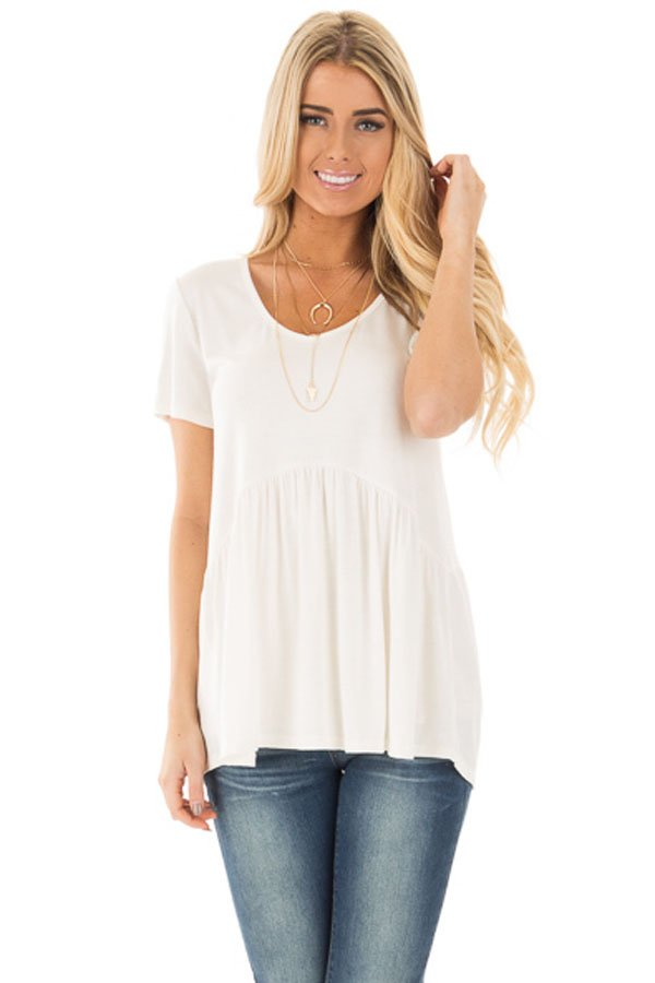 White Sweetheart Neckline Babydoll Style T-shirt