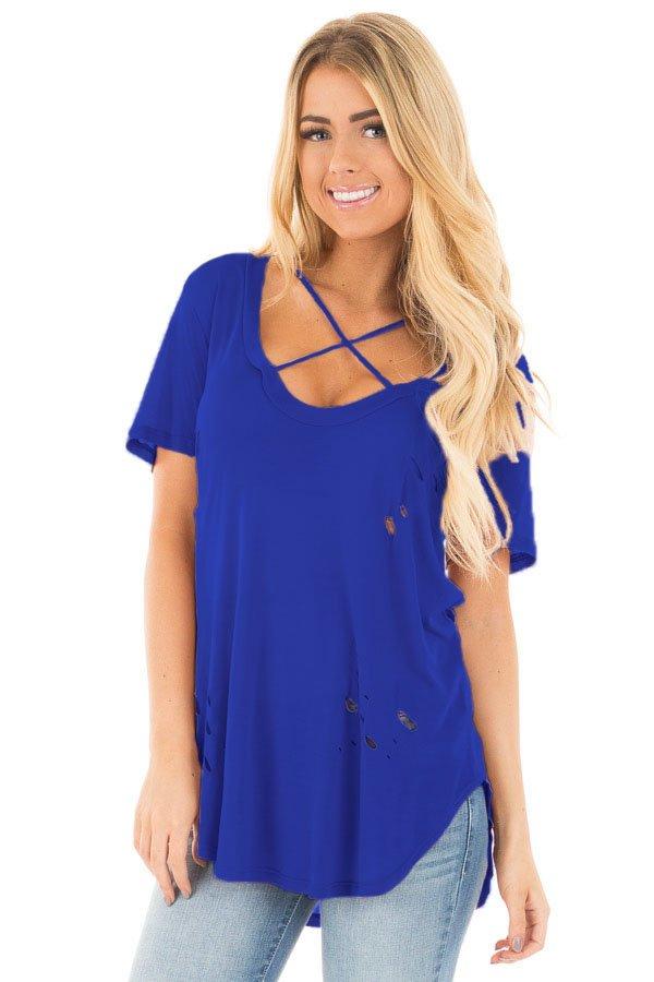 Royal Blue Crisscross Neckline Distressed Cotton T-shirt
