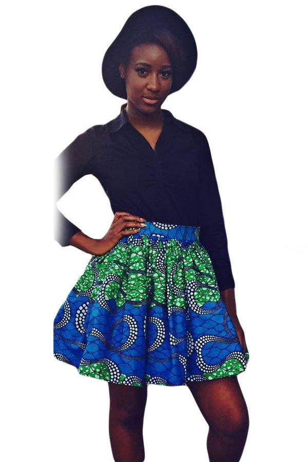 Greenish Print Skater African Style Mini Skirt