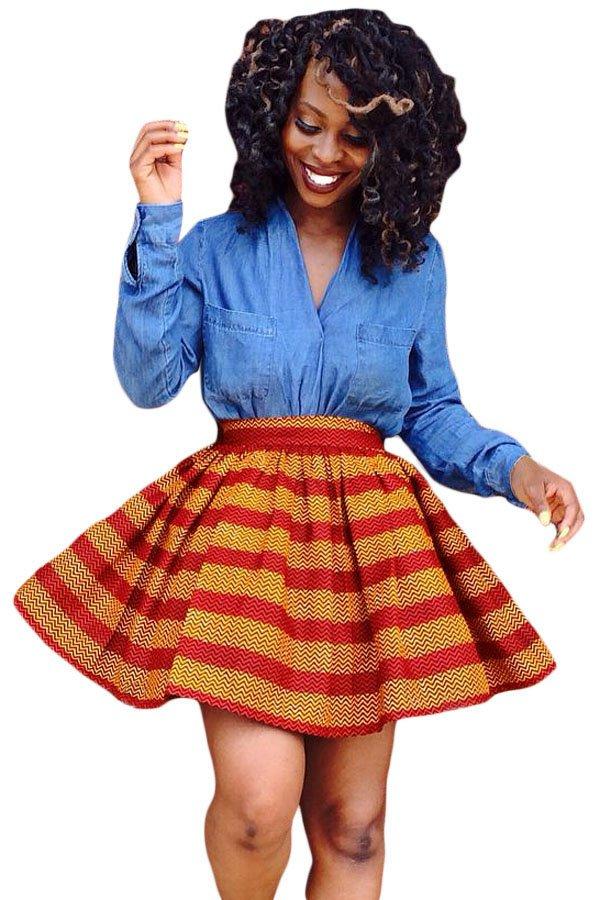 Red Orange Print Skater African Style Mini Skirt