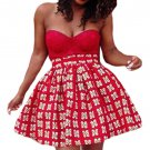 Red Print Skater African Style Mini Skirt