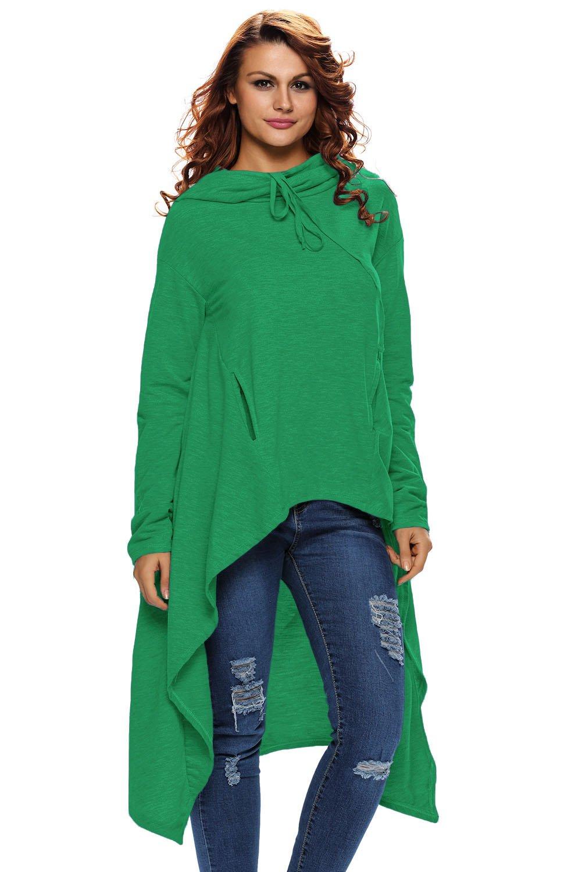 Green Plain Drawstring Irregular Oversize Hoodie