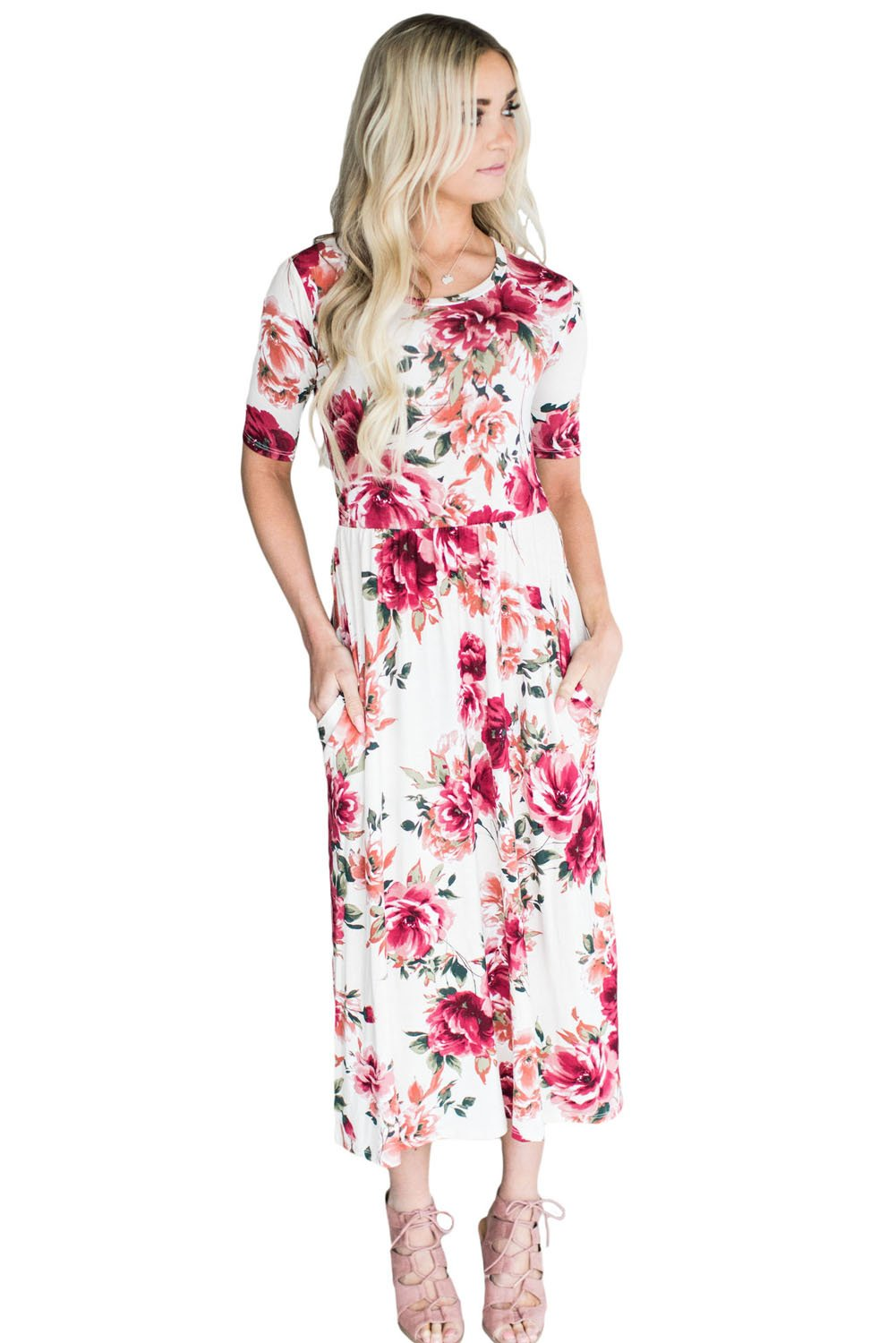 Casual Pocket Design Blooming Floral Dress