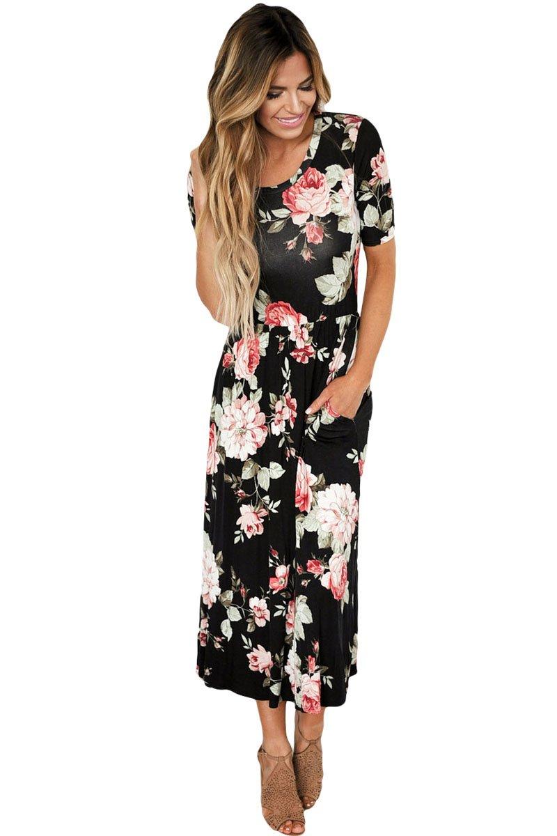 Casual Pocket Design Black Floral Dress