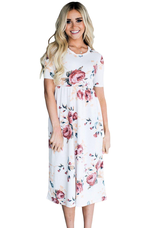 Casual Pocket Design White Floral Dress