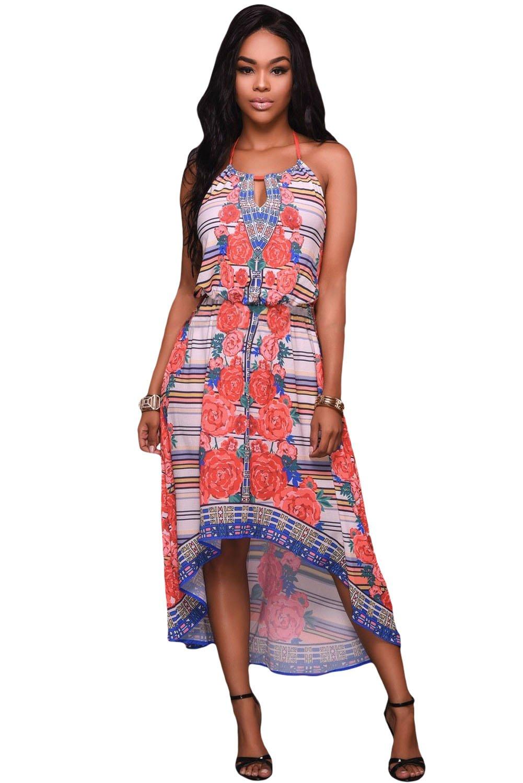 Multi-color Print Halter High-low Dress