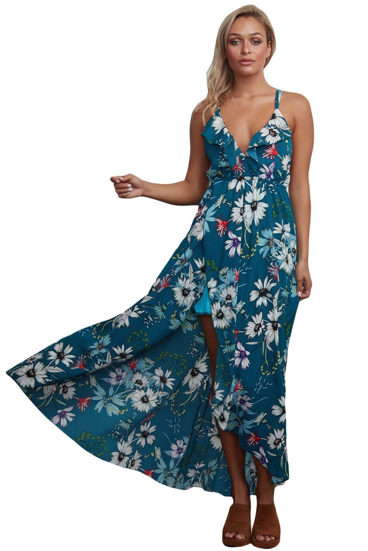 Slate Blue Floral Chiffon Spaghetti Straps Maxi Dress