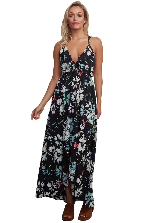Black Floral Chiffon Spaghetti Straps Maxi Dress
