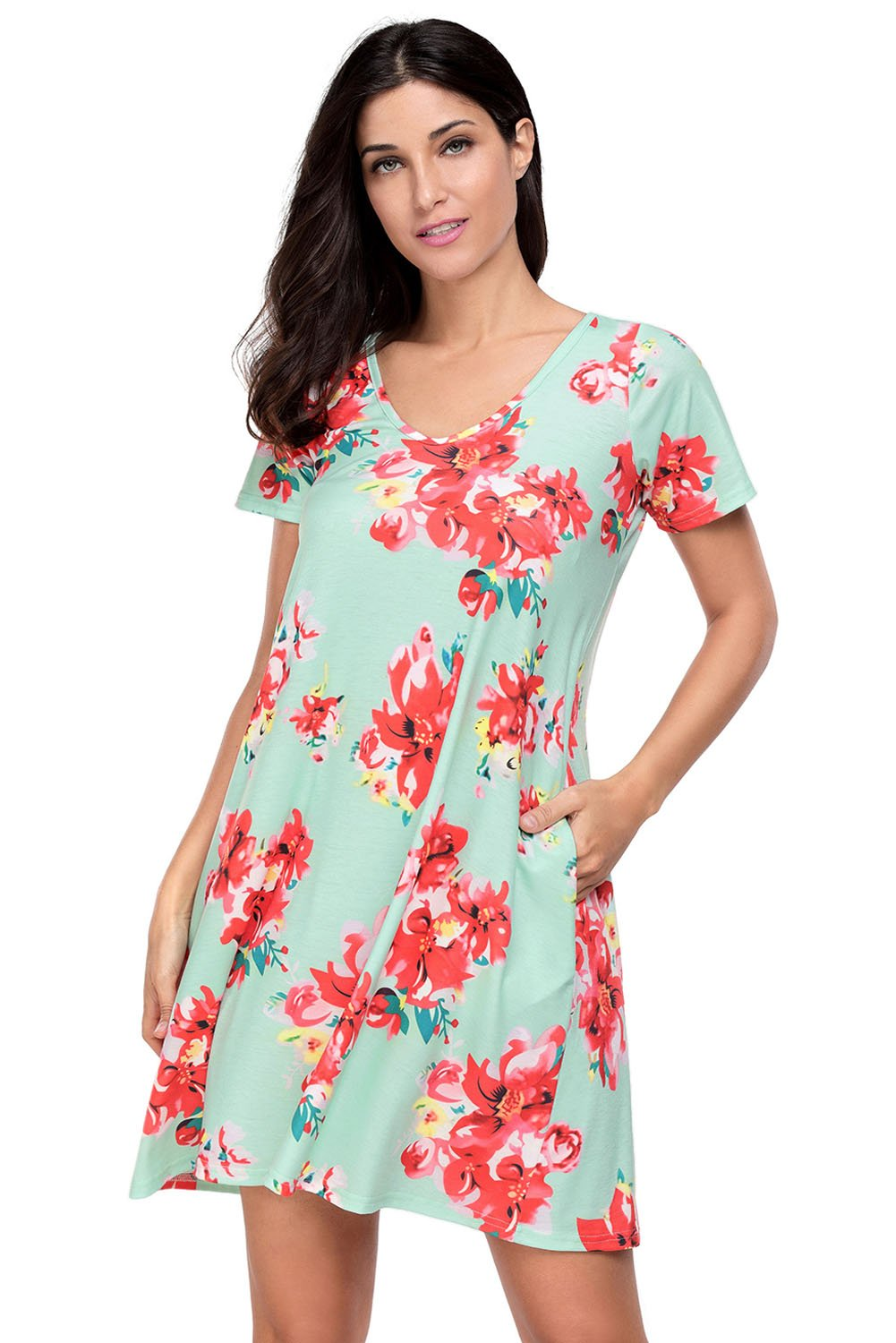 Pocket Design Summer Floral Shirt Dress