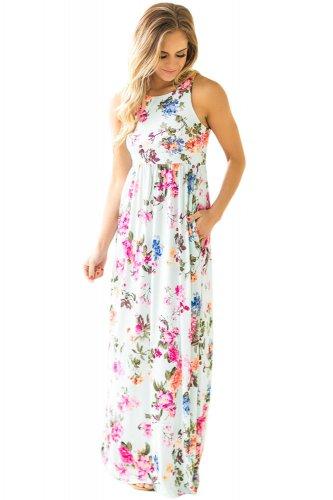 Light Mint Floral Print Sleeveless Long Boho Dress