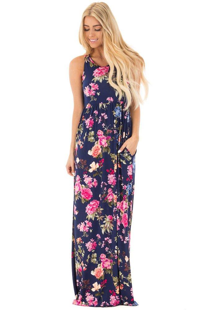 Navy Flourish Print Sleeveless Long Boho Dress