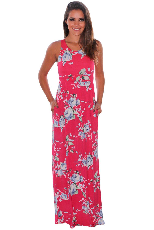 Fuchsia Floral Print Sleeveless Long Boho Dress