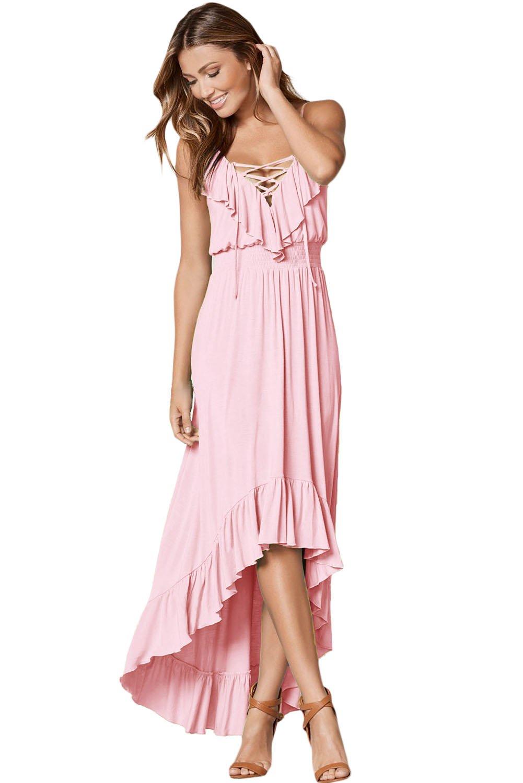 Light Pink Lace Up V Neck Ruffle Trim Hi-low Maxi Dress