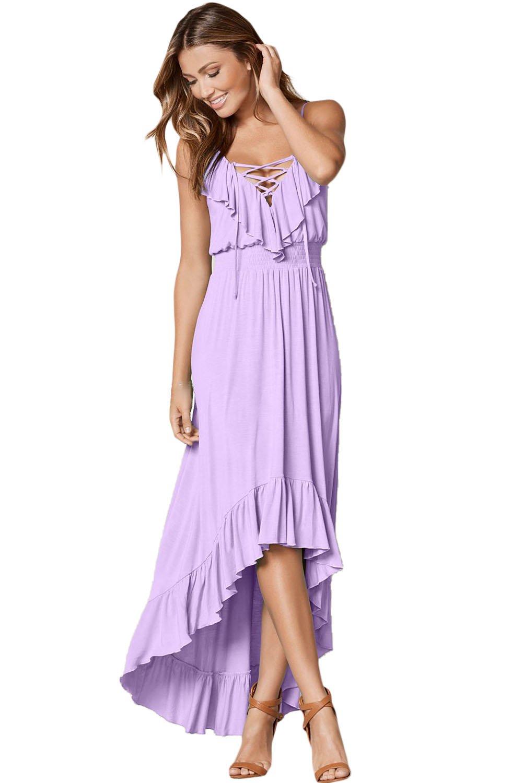 Lilac Lace Up V Neck Ruffle Trim Hi-low Maxi Dress