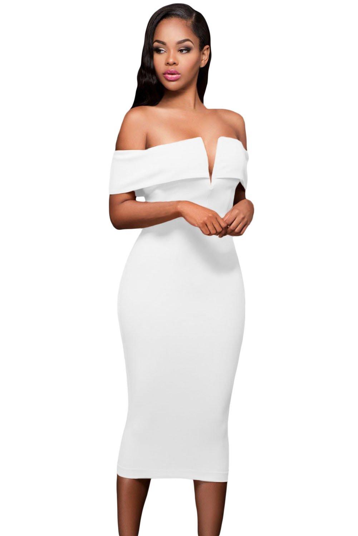 White Off-the-shoulder Midi Dress