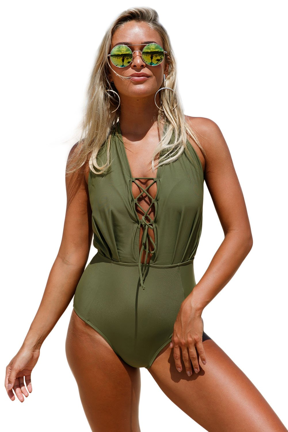 Olive Green Lace Up Halter One Piece Swimsuit