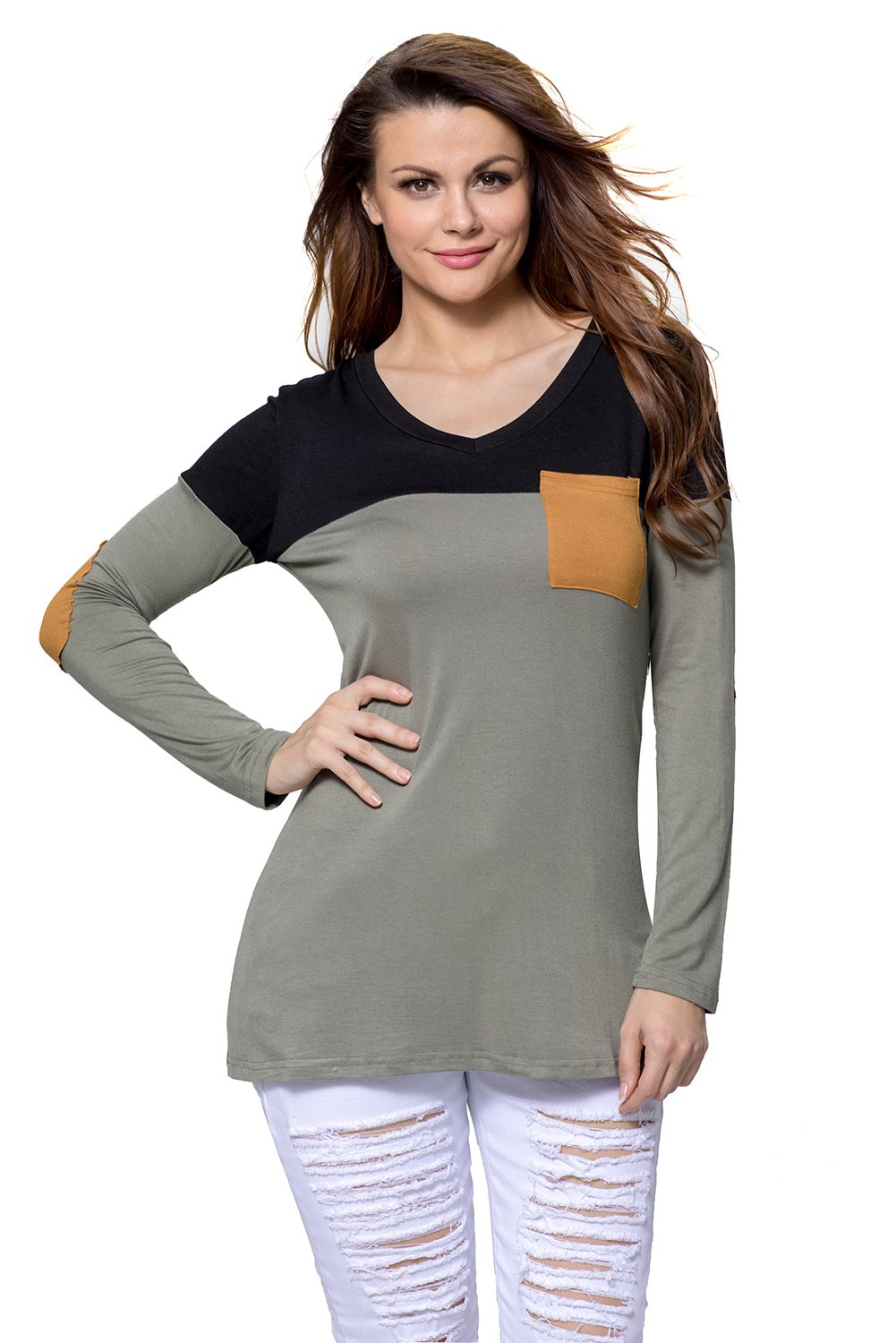 Black Grey Color Block Patch Insert Long Sleeve Blouse Top