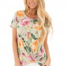 Light Green Floral Short Sleeve Knot Top