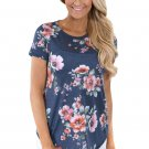 Charcoal Short Sleeve Round Neck Floral Printed Womens T-shirt