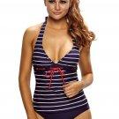 Nautical Striped 2pcs Halter Tankini Swimsuit