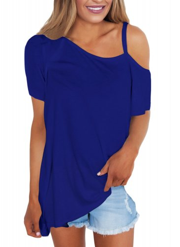 Blue Cold Shoulder Short Sleeve Loose Fit Tops