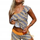Ruffle One Shoulder Tankini&Shorts 2pcs Swimsuit