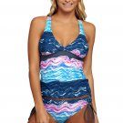Summer Waves Cross Back Tankini Tie Side Swimsuit