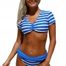 Chambray Short Sleeve Crop Bra Stitch Banded Panty Tankini Set